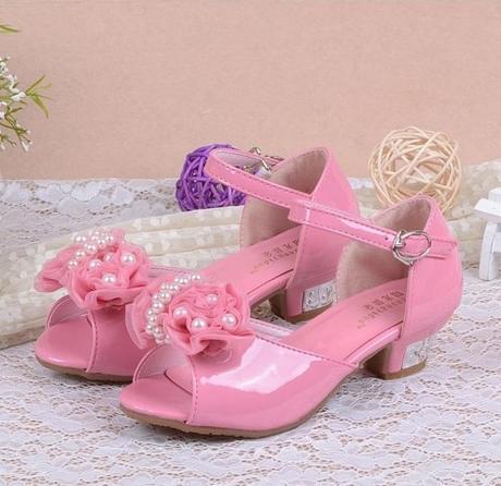 Růžové společenské sandálky pro družičky, 26-37, 34