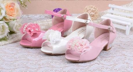 Růžové společenské sandálky pro družičky, 26-37, 35