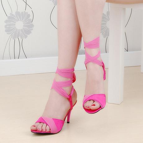Růžové společenské zavazovací sandálky, 35-39, 37