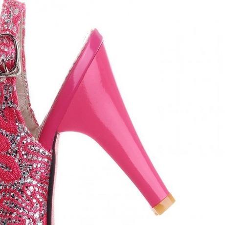 Růžové svatební, společenské sandálky, 34-41, 36