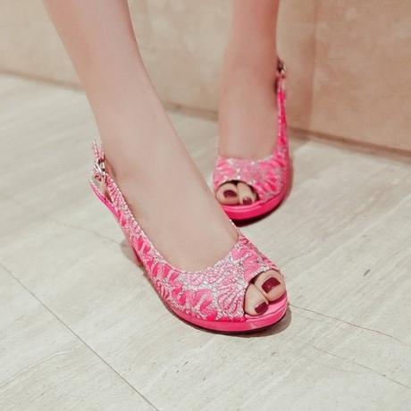 Růžové svatební, společenské sandálky, 34-41, 38