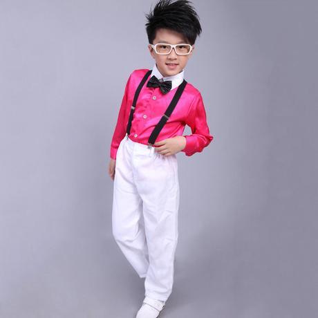 Růžový chlapecký svatební, společenský oblek, 116