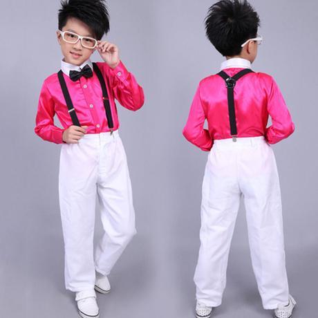 Růžový chlapecký svatební, společenský oblek, 152