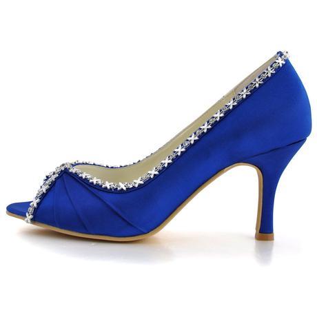 Saténové tmavě modré lodičky, 22,5-26cm, 40