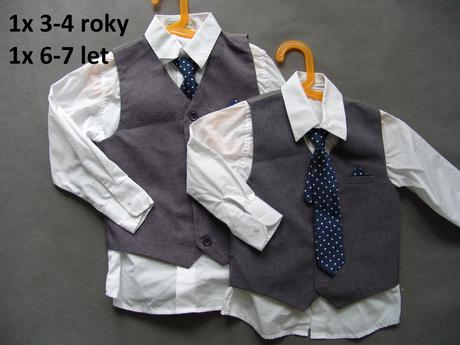 Šedý chlapecký oblek k zapůjčení, 3-4 a 6-7 let, 110
