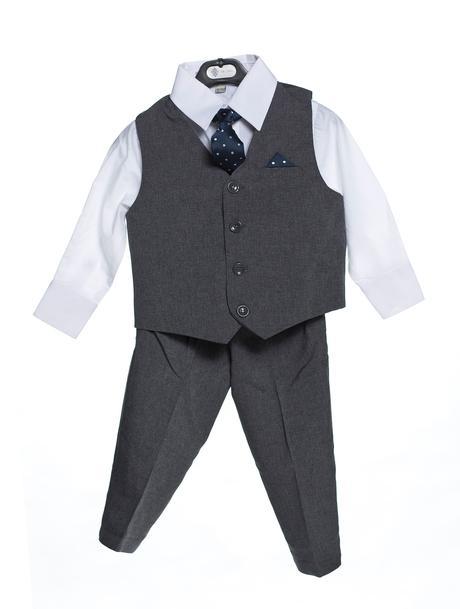 Šedý chlapecký oblek k zapůjčení, 3-4 a 6-7 let, 128