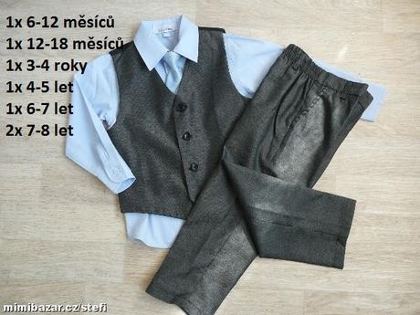 Šedý oblek k zapůjčení, 6-7 let, 122