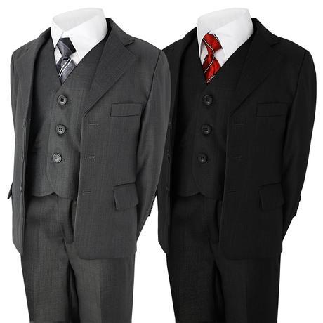 Šedý společenský oblek, půjčovné, 5-6 let, 116