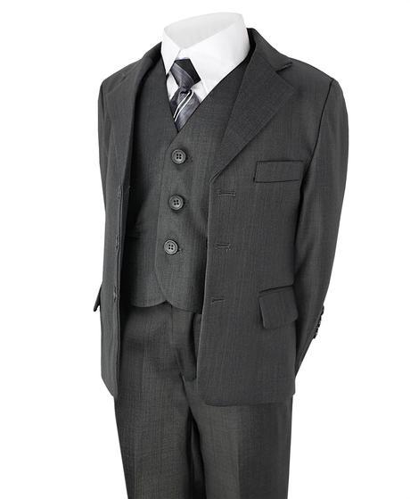 Šedý společenský oblek, půjčovné, 7-8 let, 128