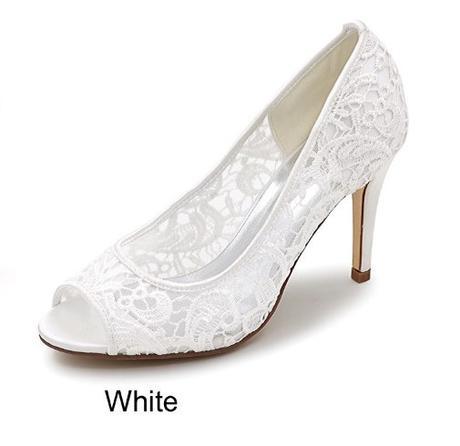 SKLADEM - bílé krajkové lodičky, 40