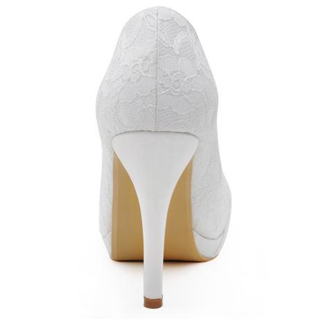 SKLADEM - bílé krajkové svatební lodičky, 36