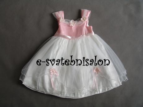 SKLADEM - bílo-růžové šaty, 1-4 roky, 92