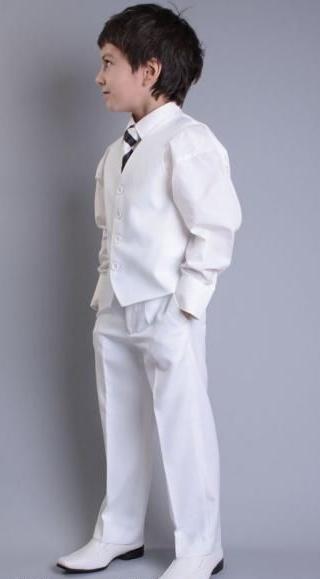 SKLADEM - bílý svatební oblek, 98