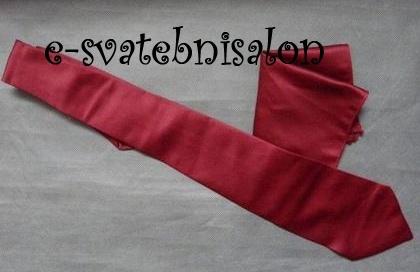 SKLADEM - burgundy kravata  +  kapesníček,