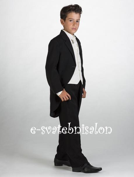 SKLADEM - černý oblek, frak k zapůjčení, 116