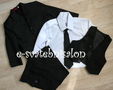 SKLADEM - černý oblek k zapůjčení, 128