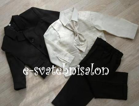 SKLADEM - černý oblek k zapůjčení, 86