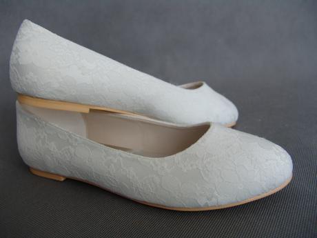 SKLADEM - ivory krajkové svatební baleríny, 41