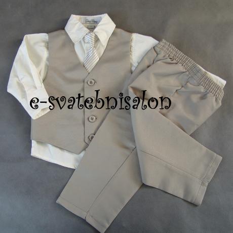 SKLADEM - k zapůjčení béžový oblek 3měsíce - 3 rok, 80