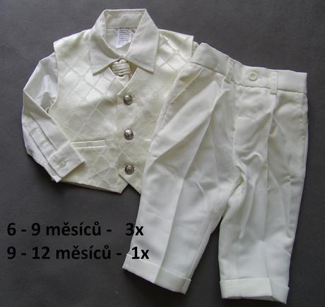 SKLADEM - k zapůjčení ivory oblek, 6-9 a 9-12 měsí, 80