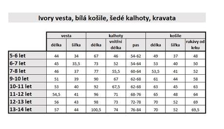 SKLADEM - k zapůjčení ivory/šedý oblek 5-14 let, 110