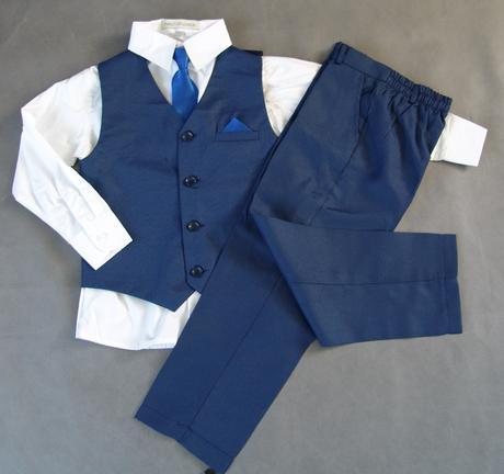 skladem - k zapůjčení modrý oblek, 5-6, 6-7 let, 110