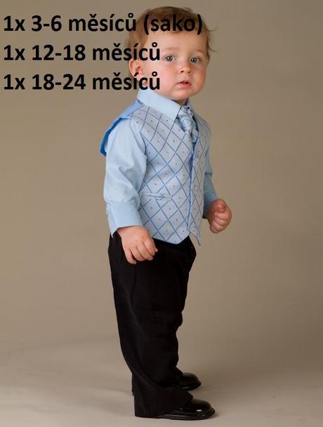 SKLADEM - modrý/černý oblek k zapůjčení, 68