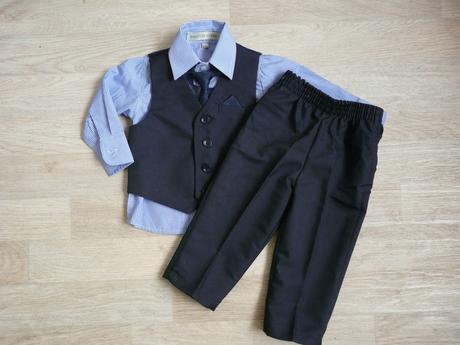 Skladem - půjčovné na tmavě modrý oblek 6-12 měsíc, 74