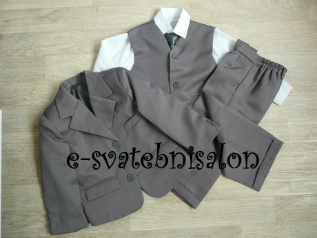 SKLADEM - šedý oblek k zapůjčení, 1 a 4 roky, 86
