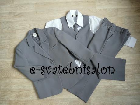 SKLADEM - šedý oblek k zapůjčení, 5 let, 116