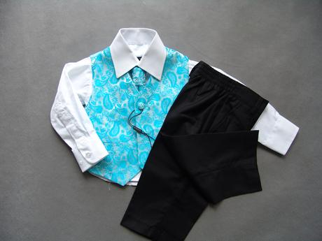 SKLADEM - tyrkysový oblek, 3m, 11 a 12 let, 68