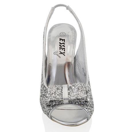 Stříbrné flitrované společenské sandálky, 36-41, 36