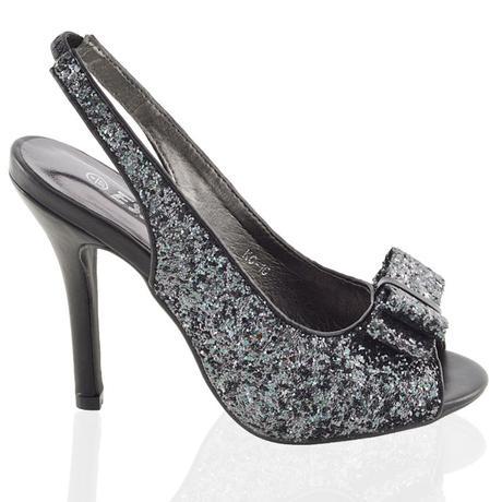 Stříbrné flitrované společenské sandálky, 36-41, 38