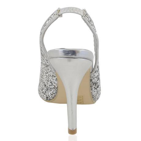 Stříbrné flitrované společenské sandálky, 36-41, 40