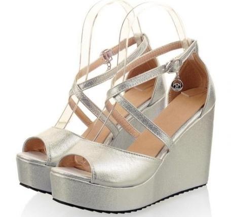 Stříbrné plesové boty na klínku, 35-42, 36
