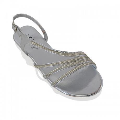 Stříbrné plesové, plážové sandálky, 36-41, 41