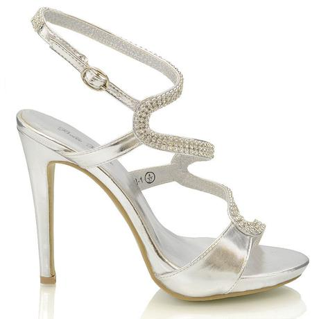 Stříbrné plesové společenské sandálky, 36-41, 38