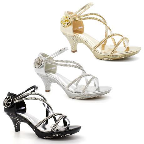 Stříbrné plesové, svatební sandálky, nízký podpate, 40