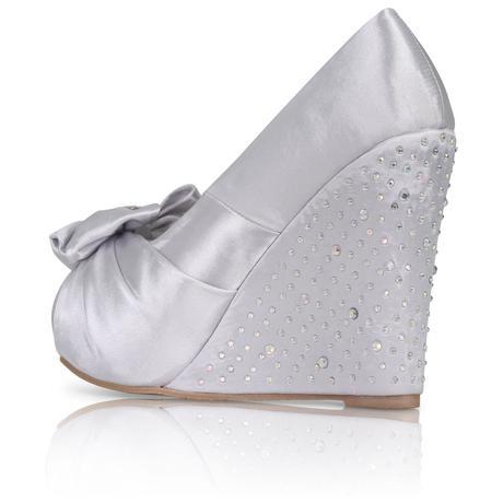 Stříbrné saténové boty, vysoký klínek, 36-41, 37