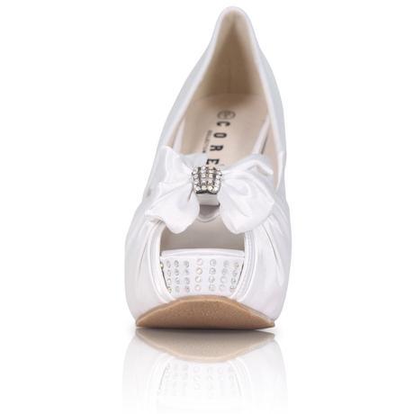 Stříbrné saténové boty, vysoký klínek, 36-41, 39