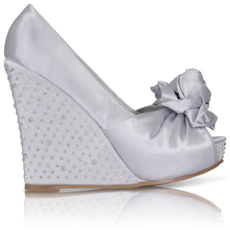 Stříbrné saténové boty, vysoký klínek, 36-41, 40