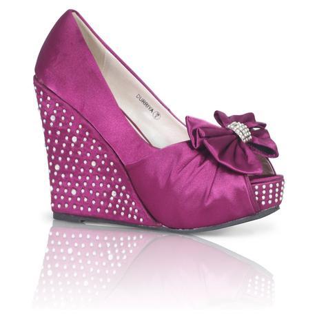 Stříbrné saténové boty, vysoký klínek, 36-41, 41