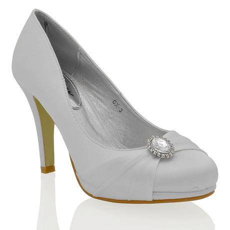 Stříbrné saténové svatební lodičky, 36-41, 36