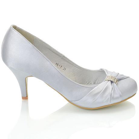 Stříbrné saténové svatební lodičky, nízký podpatek, 36