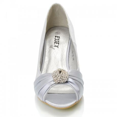 Stříbrné saténové svatební lodičky, nízký podpatek, 38