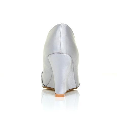 Stříbrné společenské boty, klínek, 36-41, 36