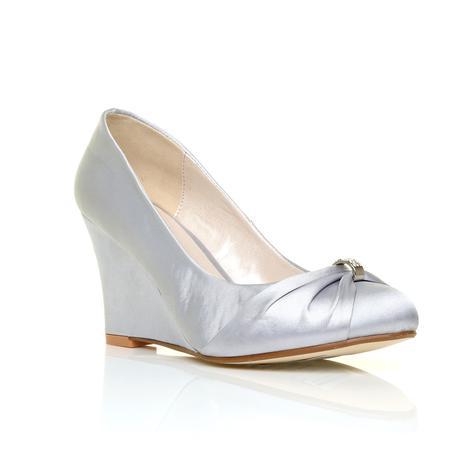 Stříbrné společenské boty, klínek, 36-41, 38