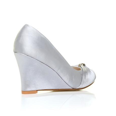 Stříbrné společenské boty, klínek, 36-41, 39