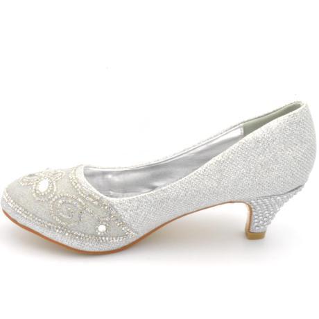 Stříbrné společenské, plesové lodičky 36-41, 40