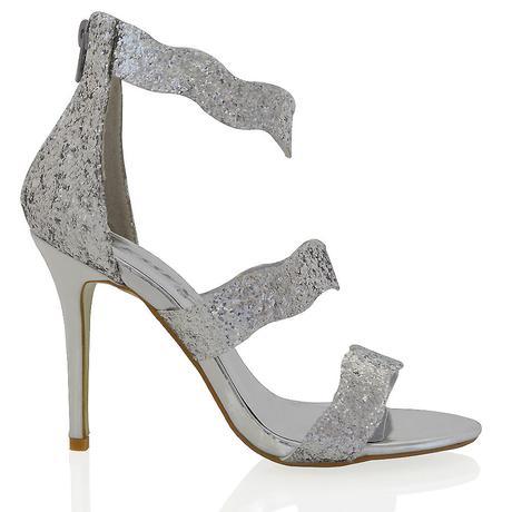 Stříbrné společenské, plesové sandálky 36-41, 36